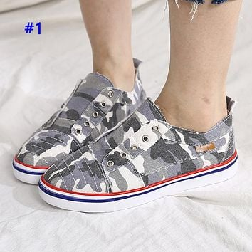 Popular fashion women's shoes casual sports cowboy camouflage canvas shoes #1