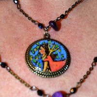 Wearable Art Necklace - OOAK Hand Painted Pendant with Woman and Deer