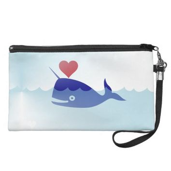 kawaii narwhal wristlet bag purse