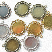 9 piece Round Circle Pendant Zinc Alloy Flat Cabochon Settings, Antique Silver Red Copper Bronze Gold, Jewelry Necklace making findings DIY