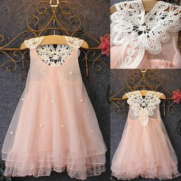 2018 Hot Pageant Toddler Baby Girls Party Dress Pearl Lace Tulle Gown Formal Dress 2-7Y