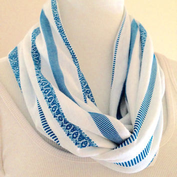 White and Blue Knit Inifinty Scarf, Winter Scarf, Spring Accessories, Loop Neck Warmer, Cowl, Winter Accessories, Gift For Her, Women, Girls
