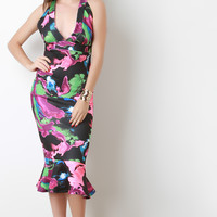 Techno Print Deep V-Neck Peplum Dress