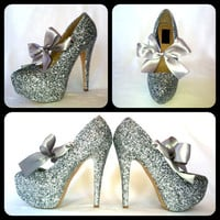 The Silver Bullet Glitter High Heels by ChelsieDeyDesigns on Etsy