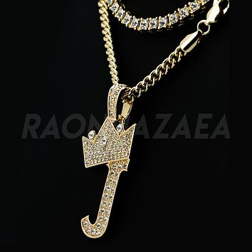 Iced Out Crown J Initial Pendant Necklace Set