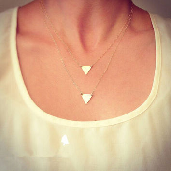 Jewelry Fashon Gold Plated Personality Double Layer Triangle Necklace, Double Chain Pendant Gold Plated Necklace For Women