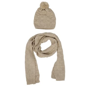 Women's Winter Knitted Scarf and Hat Set Thicken Skullcaps-black