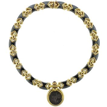 Bulgari Hematite Ancient Coin Ruby Gold Pendant Necklace