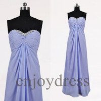 Custom Lilac Beaded Long Bridesmaid Dresses 2014 Simple Prom Dresses Wedding Party Dresses Party Dress Evening Gowns Fashion Evening Dresses