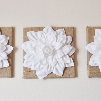 "Set Of Three White Dahlias on Burlap 14 x14"" Canvas"