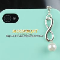 3.5mm Retro Infinity Wishing And Pearl Dust For iphone 4s,iPhone 4,iPhone 3gs,iPod Touch 4,HTC,Nokai,Samsung,Sony MB697