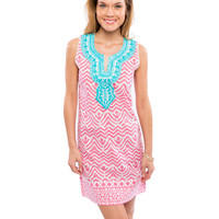 aztec sleeveless dress - pink and turquoise