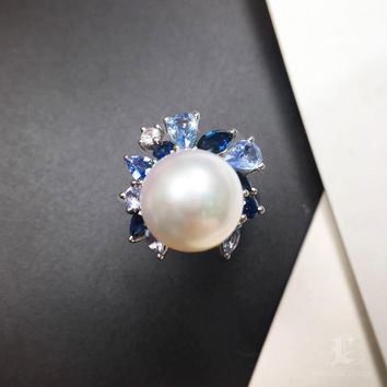 11-12mm South White Sea Pearl Unique Ring, 18k White Gold w/ Sapphire - AAAA