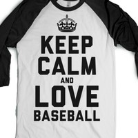 Keep Calm and Love Baseball (Baseball Tee)-White/Black T-Shirt