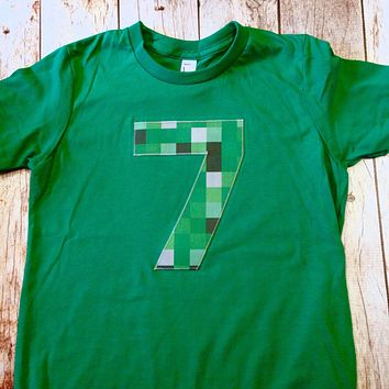 ANY NUMBER green 8 pixel video game Fabric Birthday Shirt older kids 7th 8th 9th birthday boy tnt water land hacks 6 7 8 9