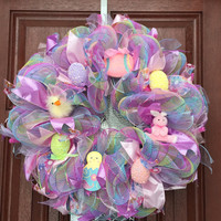 Deco Mesh Easter Wreath / Spring Wreath / Pastel Pink Purple Blue Green / Easter Bunny Easter Egg