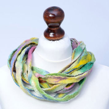Pastel, multicolor, twisted ribbon necklace - colorful, multi strand, fiber necklace - multistrand felted wool jewelry [N103]