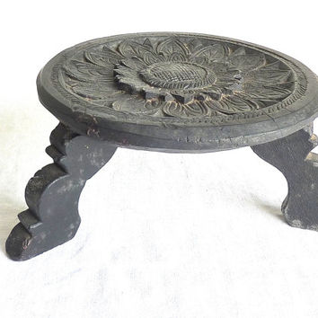 Sunflower Mandala // Old Serving Pedestal // Hand Carved // India