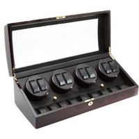 Ebony Wood Finish 8 Watch Winder With 9 Additional Watch Sto