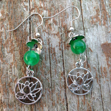 Glowing green jade wire wrapped flower earrings - flower jewelry - jade gemstone jewelry -jade earrings -valentines for women -Easter -gifts
