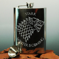Game of Thrones  House  Etched Stainless Steel Hip von NexusGlass