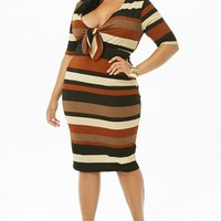 Plus Size Ribbed Striped Cutout Dress