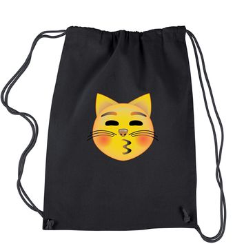 Color Emoticon - Cat Face Smiley Drawstring Backpack