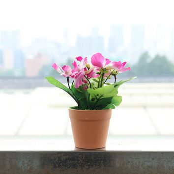 Indoor/Outdoor Pink Pansy Artificial Flower Pot Arrangement