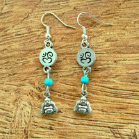 Buddha Earrings Ohm Earrings Spiritual Earrings Silver Yoga Earrings Yoga Buddha Ohm
