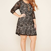Plus Size Crochet Lace-Up Dress