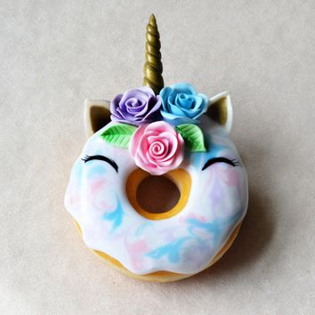 Unicorn Doughnut Miniature Food Magnet