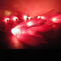20 Pink Bodhi Leave Flower Fairy Lights String 3.5M Home Accent Floral Decor
