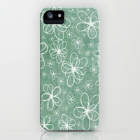 Doodle Flowers Green iPhone & iPod Case by Alice Gosling