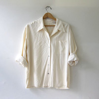 90s silk shirt. ivory white silk blouse. minimalist top. silk pocket top.