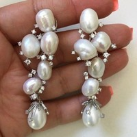 white Fresh Water Pearl Statement Earrings