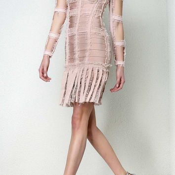Tulle Cutout Sleeve Bandage Dress