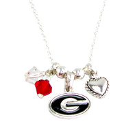 Georgia Bulldogs NCAA Austrian Crystal Silver Necklace