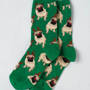 Ruff on the Housetop Socks in Green | Mod Retro Vintage Socks | ModCloth.com