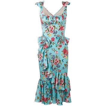 Women Bodycon Ruffle Dress Scoop Pleated Vintage Elegant Floral Print Dress Lady Sleeveless Asymmetric Silk Midi Mermaid Dress