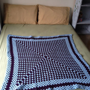 OOAK Handmade Crochet Baby Blue & Dark Purple Geometric Granny Square Blanket/Afghan/Throw/Crib Blanket