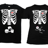 Matching Halloween Shirts Couples Costume Maternity Shirt Pregnant Skeleton Pregnancy T Shirt Mom To Be New Father TShirt - SA844-379