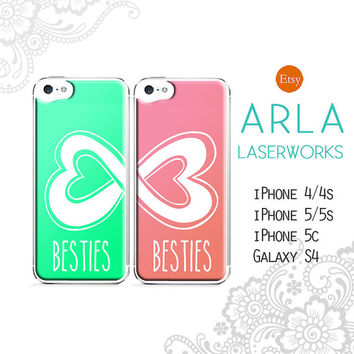 """Pair of Quote """"Besties"""" Infinity Heart iPhone 5 / 4 Case - Mint and Pink Set of Two Best Friends iPhone 6 Cover"""
