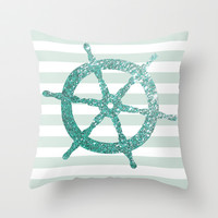 GLITTER HELM IN MINT Throw Pillow by colorstudio