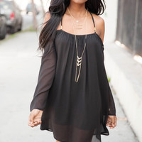 Off Shoulder Open Back 3/4 Bell Sleeve Dress - Black
