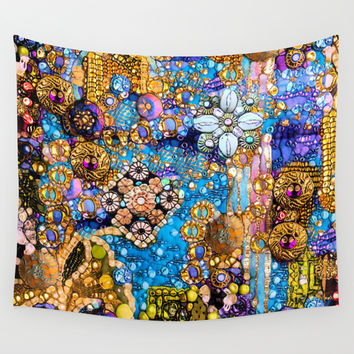 Gold, Glitter, Gems and Sparkles Wall Tapestry by Joke Vermeer