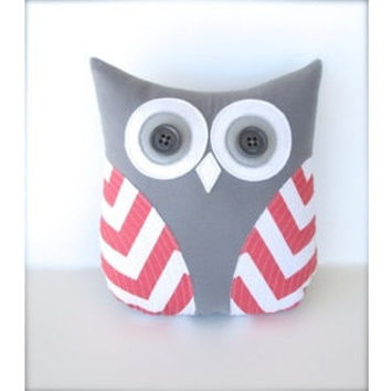 Coral owl pillow, coral and gray nursery decor, coral and white chevron, owl pillow, coral owl, pillow owl, gray and coral nursery, owl