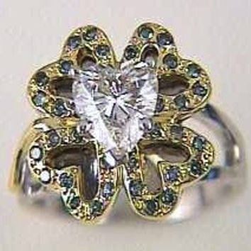 1.86ct Heart Shape Diamond Engagement Ring Four Leaf Clover 18kt JEWELFORME BLUE
