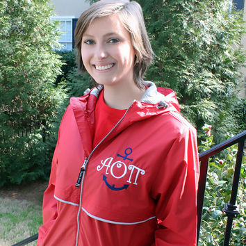 Monogram Anchor Sorority Rain Jacket in Red Personalized Hood & Left Chest