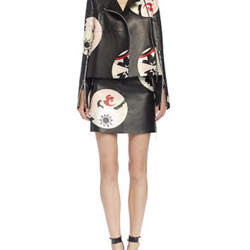 Alexander McQueen  Kansai Engineered Painted Print Leather Jacket