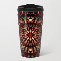 Black Red and Green Mandala Travel Mug by kevinlbrooks